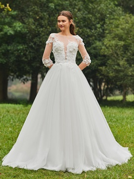 Half Sleeves Appliques Sheer Back Wedding Dress