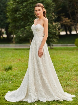 Strapless Lace Wedding Dress with Long Sleeve Jacket