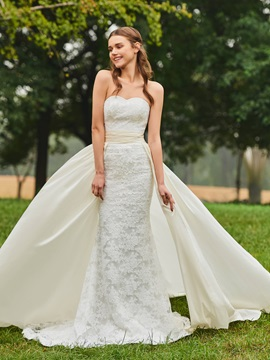 Watteau Train Lace Mermaid Wedding Dress