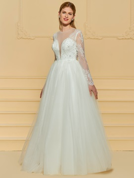Sheer Neck Beaded Lace Wedding Dress with Sleeve