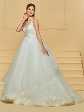 Appliques Ball Gown Wedding Dress
