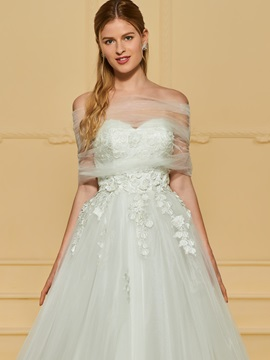 Strapless Appliques Wedding Dress with Shawl
