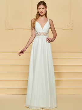 Straps Appliques A-Line Beach Wedding Dress