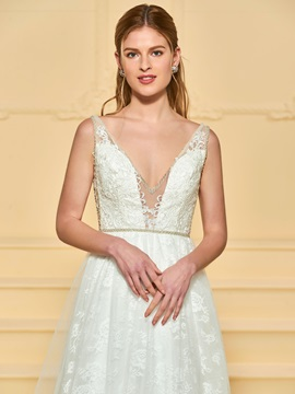 Beaded V-Neck Lace Wedding Dress