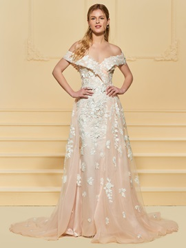 Watteau Train Appliques Off the Shoulder Wedding Dress