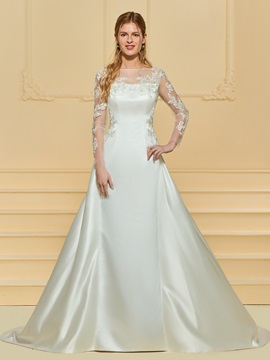 Appliques Wedding Dress with Long Sleeve