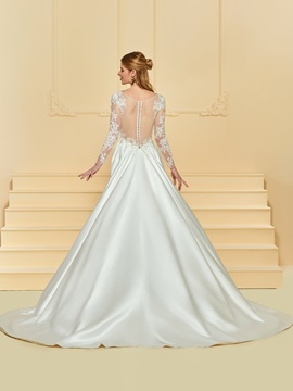 Sheer Button Back Appliques Wedding Dress with Long Sleeve