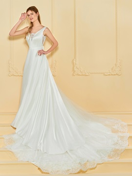 Straps Appliques Wedding Dress with Train