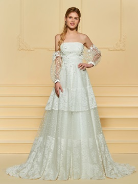 Long Sleeve Appliques Lace Wedding Dress