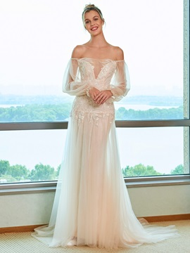 Lace Appliques Beading Off the Shoulder Wedding Dress