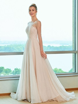 Sheer Neck Beading Long Sleeve Wedding Dress