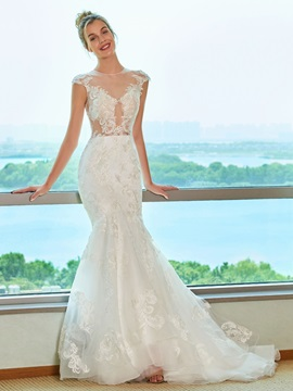Illusion Neck Lace Appliques Mermaid Wedding Dress