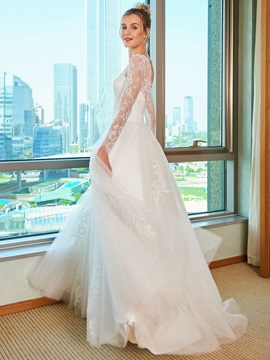 A-Line Lace Wedding Dress with Long Sleeve