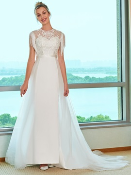 Tassel Sleeves Beading Embroidery Lace Wedding Dress