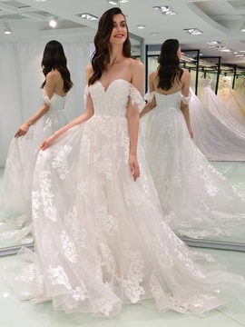 A-Line Off the Shoulder Appliques Wedding Dress