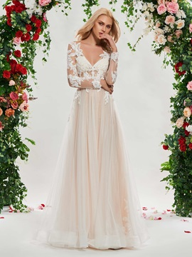 V-Neck Appliques Wedding Dress with Long Sleeve