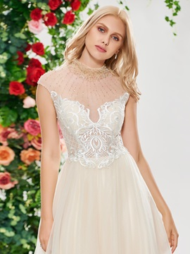 Beaded High Neck Lace Wedding Dress