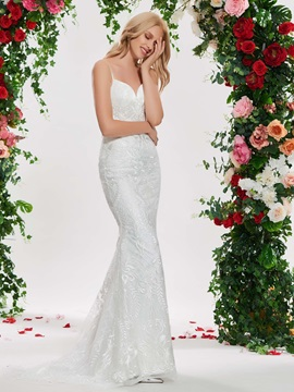 Spaghetti Straps Mermaid Lace Wedding Dress with Jacket