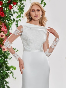 Appliques Wedding Dress with Long Sleeves