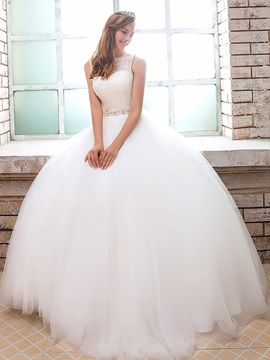 Sequins Lace Ball Gown Wedding Dress