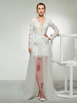Sheath Long Sleeve Lace Beach Wedding Dress