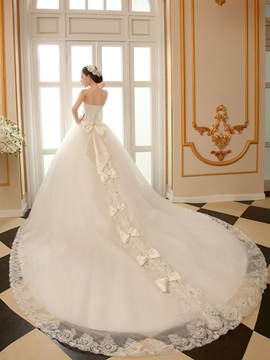 Ball Gown Appliques Bowknot Cathedral Train Wedding Dress