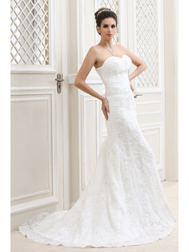 Graceful A-Line Sweetheart Court Train Taline's Lace Bridal Gown