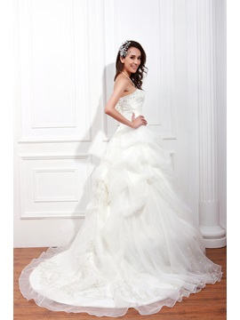 Elegant A-Line Sleeveless Beading Sweetheart Embroidery Renata's Wedding Dress