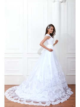 Gorgeous A-line Floor-Length Renata's Square Neckline Wedding Dress
