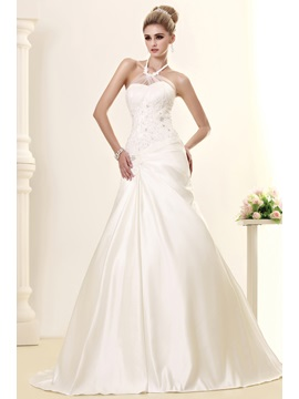 Elegant A-line Chapel Beading Halter Sleeveless Dasha's Wedding Dress