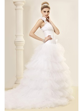 Sumptuous One-Shoulder Ball Gown Chapel Train Tiered Dasha's Wedding Dress