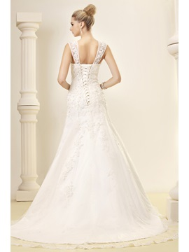 Fantastic Straps Mermaid Floor-Length Chapel Appliques Dasha's Wedding Dress