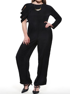 Plus Size Asymmetrical Sleeve Loose-Fit Jumpsuit
