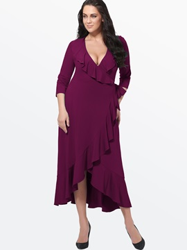Solid Color Asymmetric V-Neck Falbala Plus Size Women's Maxi Dress
