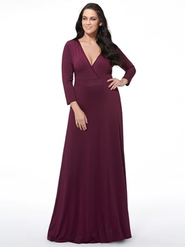 Plain V Neck Long Sleeve Belt Maxi Dress