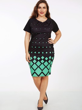 Contrast Color Geometric Short Sleeve Bodycon Dress