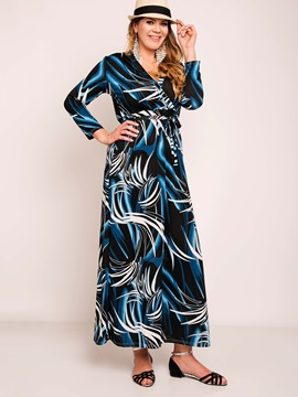 Floral Imprint Long Sleeve Maxi Dress