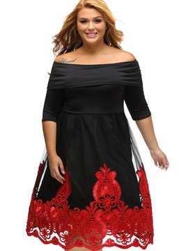 Boat Neck Short Sleeve Plus Size Skater Dress