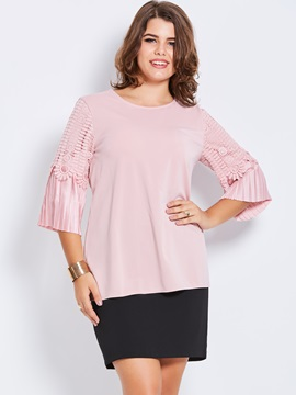 Stylish Plain Plus Size Flare Sleeve T-Shirt