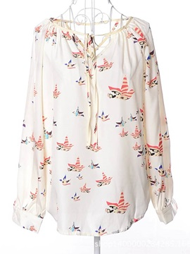Bird Printed Lace-Up Long Sleeve Blouse
