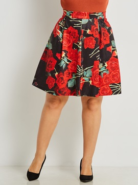 Plus Size Floral A-Line Pleated Women's Skirt