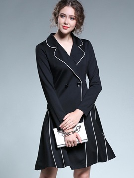 Cool Black Long Sleeve Women's Blazer Dress