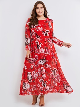 Floral Print Long Sleeve Plus Size Expansion Women's Maxi Dress