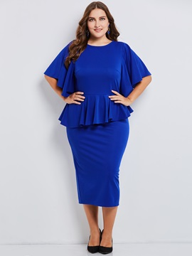 Falbala Patchwork Ruffle Sleeve Plus Size Women's Bodycon Dress