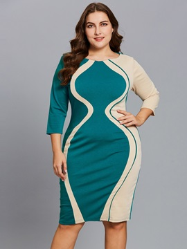 Color Block Patchwork Half Sleeve Women's Bodycon Dress