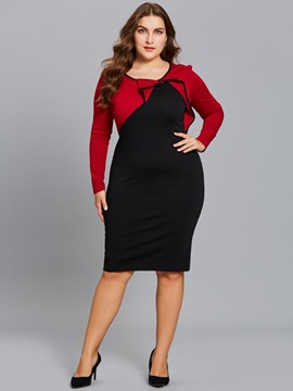Color Block Bowknot Long Sleeve Women's Bodycon Dress