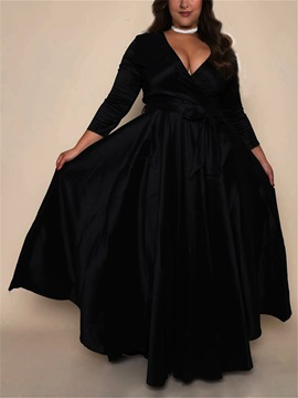 V-Neck Plain Lace-Up 3/4 Sleeve Plus Size Women's Maxi Dress