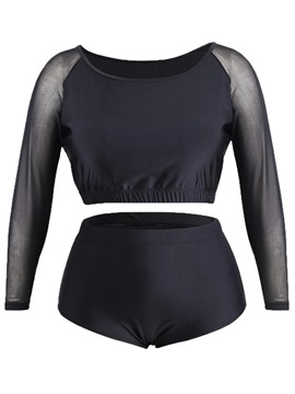 Plus Size Black Long Sleeve High Waist Tankini Bathing Suit
