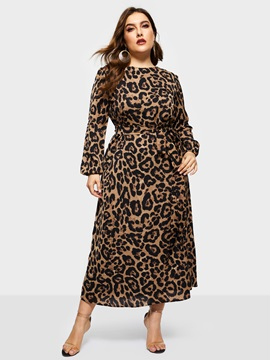 Long Sleeve Ankle-Length Leopard Women's Dress
