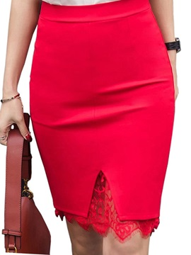 Bodycon Plus Size Knee-Length Lace Office Lady Women's Skirt